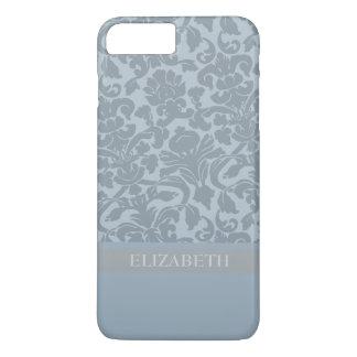 Motif de damassé avec le monogramme - bleu coque iPhone 8 plus/7 plus