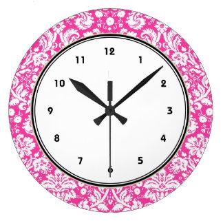 Motif de damassé de roses indien grande horloge ronde