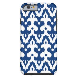 Motif de damassé d'Ikat de Marocain, bleu de Coque Tough iPhone 6