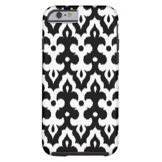 Motif de damassé d'Ikat de Marocain, noir et blanc Coque Tough iPhone 6