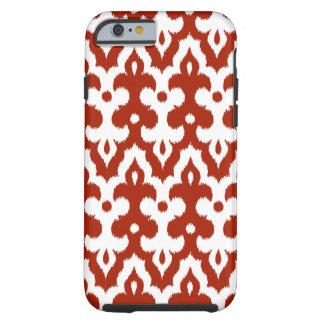 Motif de damassé d'Ikat de Marocain, rouge-foncé Coque iPhone 6 Tough