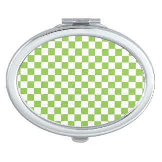 Motif de damier de vert jaune miroirs de poche