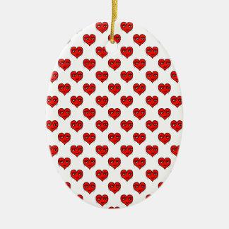 Motif de dessin de forme de coeur d'Emoji Ornement Ovale En Céramique