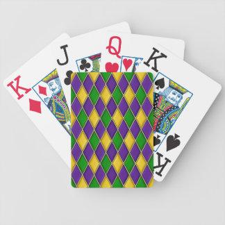 Motif de diamant de harlequin de mardi gras cartes à jouer