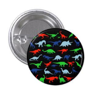 Motif de dinosaure vert-bleu et rouge sur le noir badge rond 2,50 cm