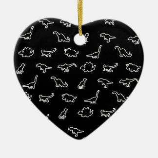 Motif de dinosaures ornement cœur en céramique