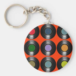 motif de disques vinyle de couleur porte-clé rond