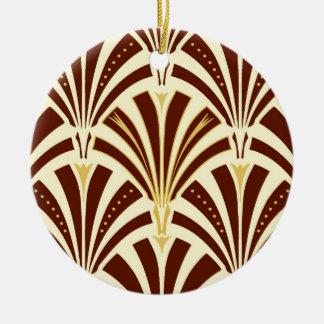 Motif de fan d'art déco - chocolat sur la crème ornement rond en céramique