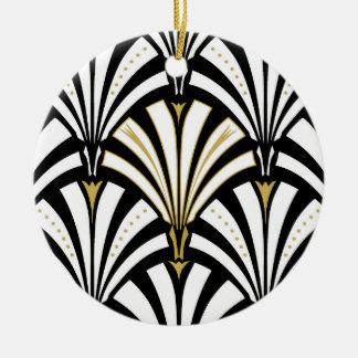 Motif de fan d'art déco - noir et blanc ornement rond en céramique