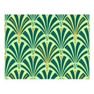 Motif de fan d'art déco - pin et vert en bon état carte postale