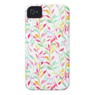 Motif de feuille de couleur en pastel d'aquarelle coques iPhone 4