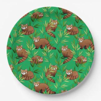 Motif de feuille de panda rouge et de bambou assiettes en papier