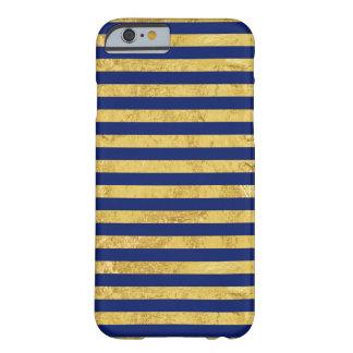 Motif de feuille d'or élégante et de rayure bleue coque barely there iPhone 6