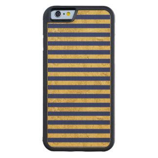 Motif de feuille d'or élégante et de rayure bleue coque iPhone 6 bumper en érable