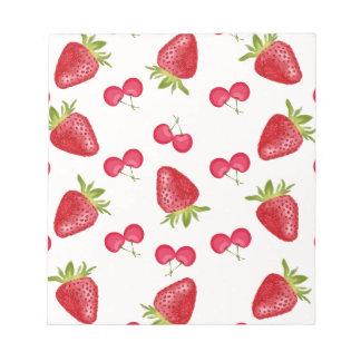 Motif de fiesta de cerises de fraises bloc-note