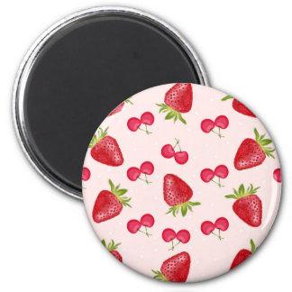 Motif de fiesta de cerises de fraises magnet rond 8 cm