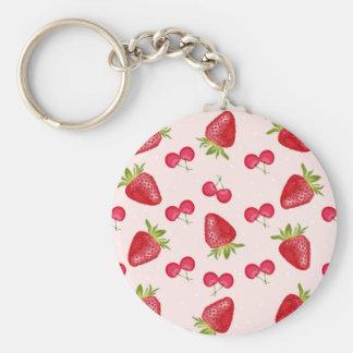 Motif de fiesta de cerises de fraises porte-clés