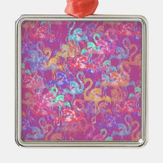 Motif de flamant ornement carré argenté
