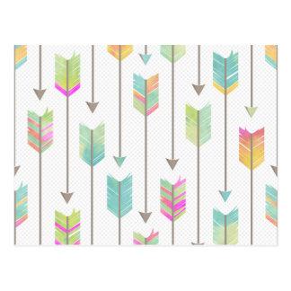 Motif de flèches d'aquarelle carte postale