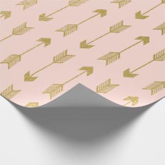 Motif de flèches de feuille d'or de Faux Papier Cadeau