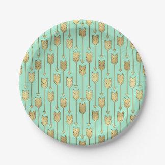 Motif de flèches de menthe de Boho et d'or de Faux Assiettes En Papier