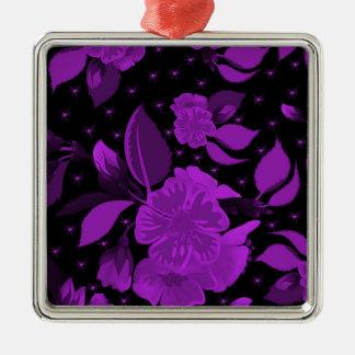 motif de fleur 3 ornement carré argenté