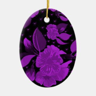 motif de fleur 3 ornement ovale en céramique