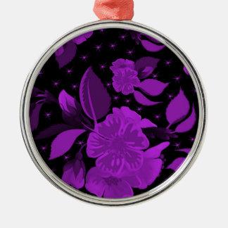 motif de fleur 3 ornement rond argenté