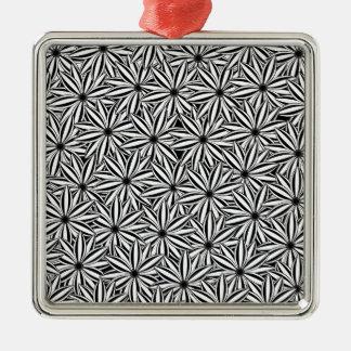 motif de fleur 4 ornement carré argenté