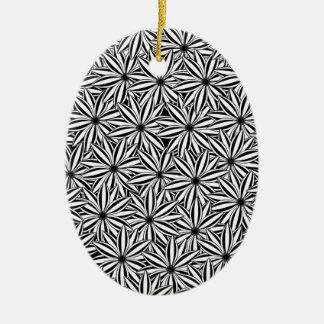 motif de fleur 4 ornement ovale en céramique