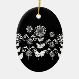 motif de fleur 5 ornement ovale en céramique