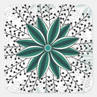 motif de fleur 6 sticker carré