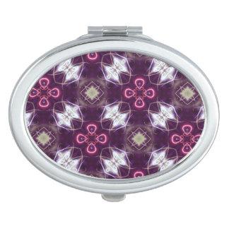 Motif de fleur abstrait rose miroir de poche