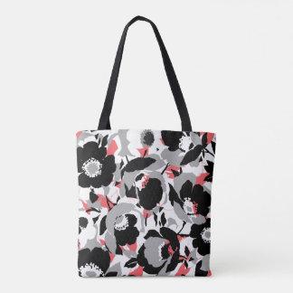Motif de fleur assez noir, blanc, et de corail tote bag