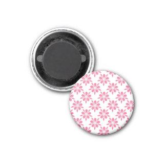Motif de fleur assez rose et blanc de flocon de aimant