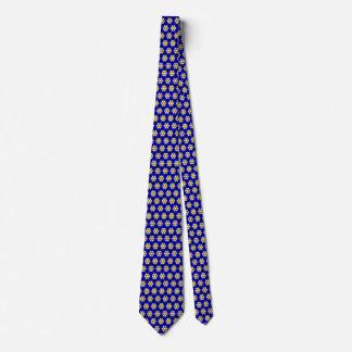 Motif de fleur bleu et jaune coloré cravate