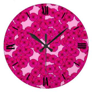 Motif de fleur d'art déco - magenta sur le rose grande horloge ronde