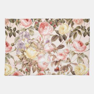 Motif de fleur rose de cru rose romantique serviette pour les mains
