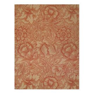 Motif de fleur rose de pavot de William Morris Cartes Postales