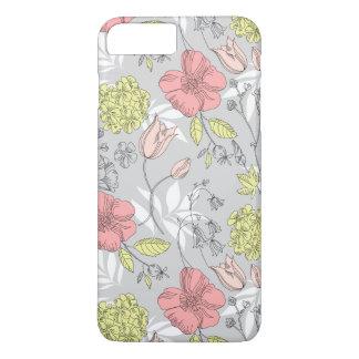 Motif de fleur vintage de tulipe coque iPhone 7 plus