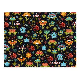 Motif de fleurs abstrait carte postale