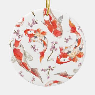 Motif de fleurs de cerisier de Koi Ornement Rond En Céramique