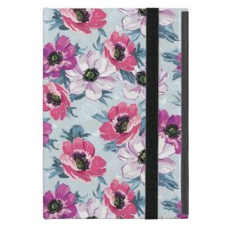 Motif de fleurs de couleur d'élégance sur le bleu coque iPad mini