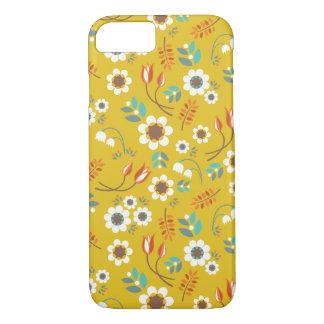 Motif de fleurs floral de jaune vintage de coque iPhone 7