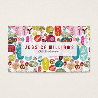 Motif de fleurs mignon coloré cartes de visite