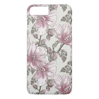 Motif de fleurs rose amorti de ketmie coque iPhone 7 plus