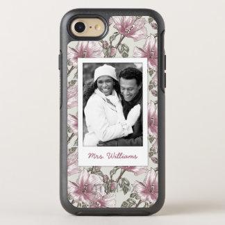 Motif de fleurs rose de photo et de ketmie de nom coque otterbox symmetry pour iPhone 7