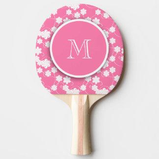 Motif de fleurs rose mignon de mod, votre initiale raquette tennis de table