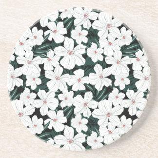 Motif de fleurs tropical blanc dessous de verre