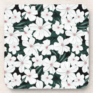 Motif de fleurs tropical blanc dessous-de-verre